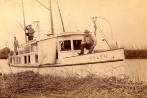 This photo of Thomas Sully's first yacht 'Helen', ca. 1893 (Photo from Southeastern Architectural Archives, Special Collections Division, Tulane University Libraries)