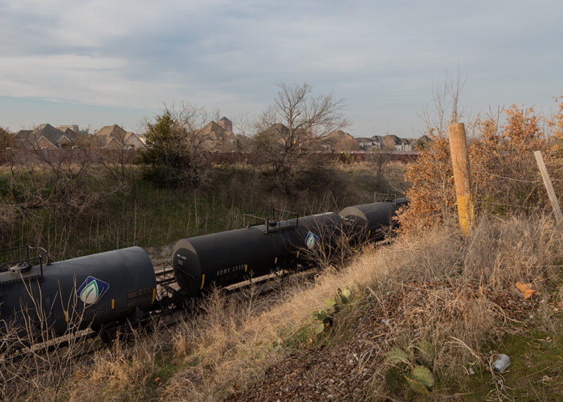 Tank Cars Parked On Top of a 12-inch High Pressure Explorer Pipe