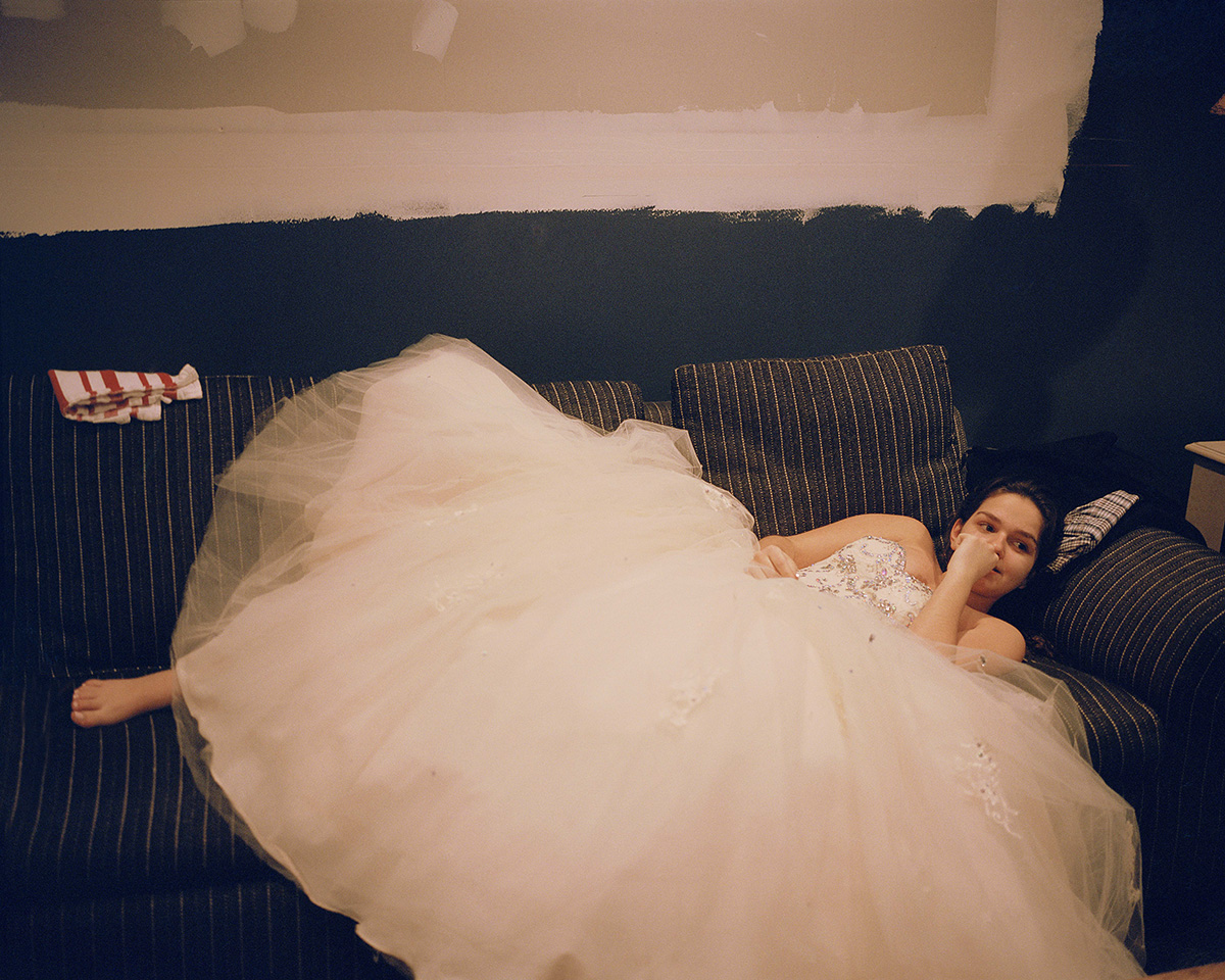 Nina on the Couch in her Sweet Sixteen Dress (Millford Drive), by Marisa Chafetz