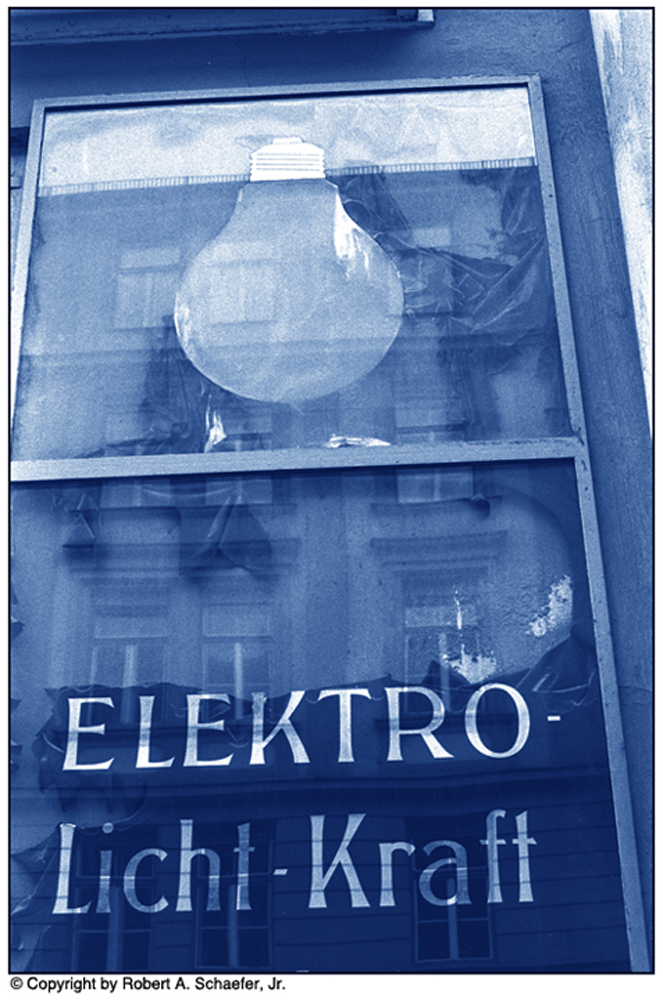 Sign for Power Company, Munich, Germany, 1976 (cyanotype)