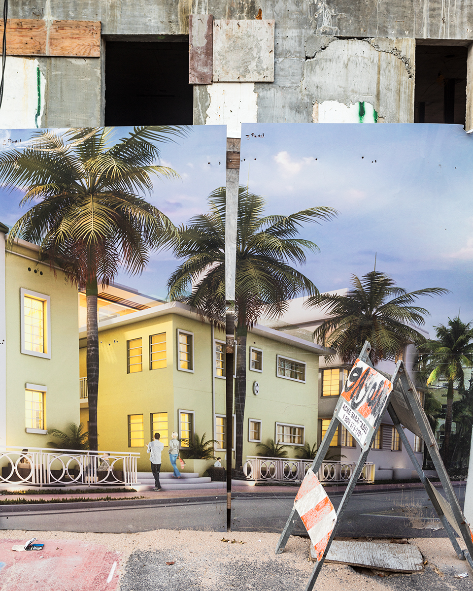 Construction Billboard in South Beach, Miami Beach, Florida